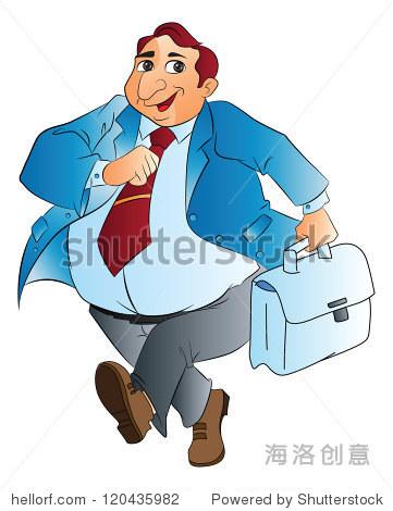 胖商人,袋,矢量插图