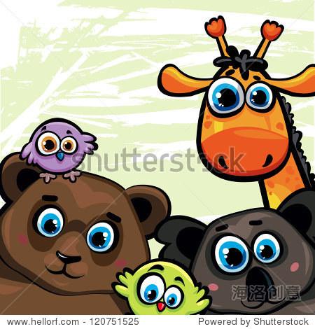 群卡通有趣的动物,熊,长颈鹿,考拉和鸟类