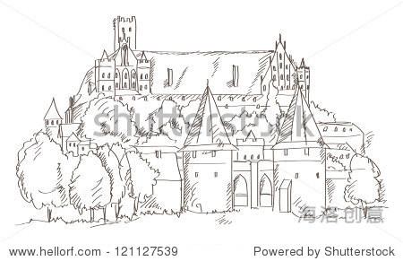 城堡在波兰下去矢量手绘风格-建筑物/地标,公园/户外