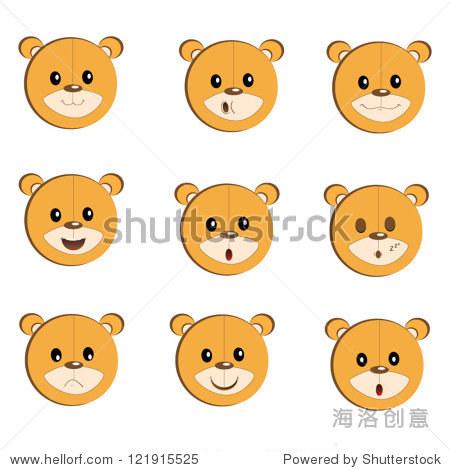 可爱的笑脸熊脸图标集