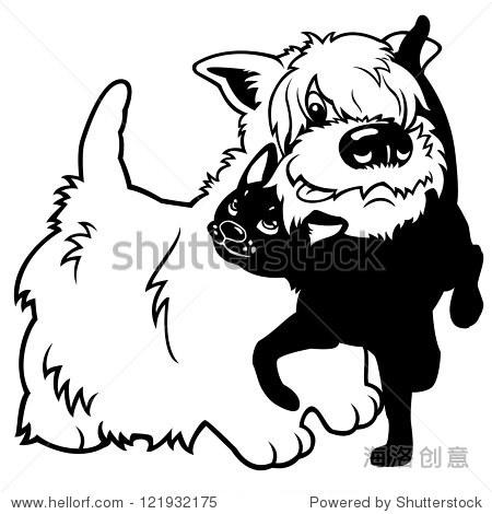 卡通狗和猫,黑色和白色矢量图片孤立在白色背景,儿童插图