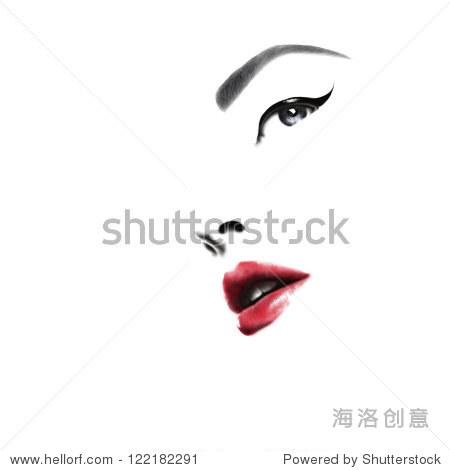 女人的脸.手绘时装插图