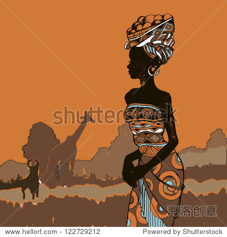 手绘插图美丽的黑人女性.非洲的女人