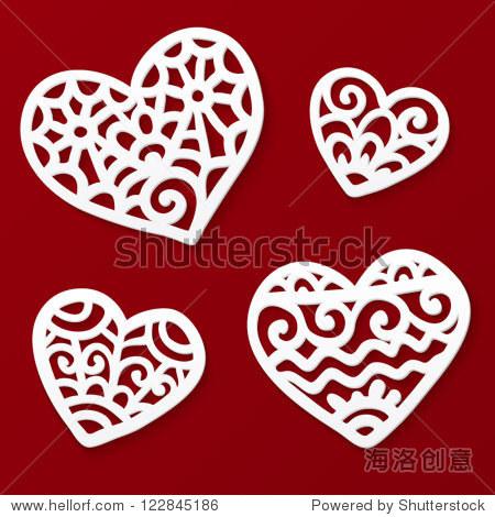 向量切断纸白色花边的心深红色背景