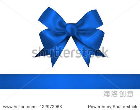 蓝色的弓和丝带孤立在白色背景.特写说明-背景/素材