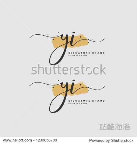 一月小夹��yi)�i_y i yi initial logo template vector