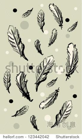 漂亮的手绘的插图羽毛灰色背景