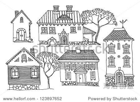 卡通手绘的房子-建筑物/地标-海洛创意正版图片,视频
