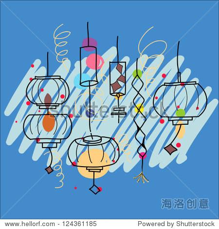 元宵节艺术手绘插图 - 物体,抽象 - 站酷海洛创意正版