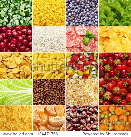 拼贴画(套)从许多美味的食品背景照片(蔬菜,水果,浆果