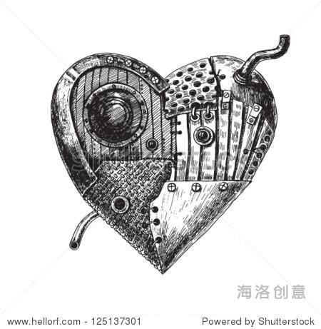 手绘插图的机械的心