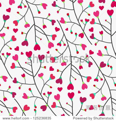纹理与心在树枝上.矢量图