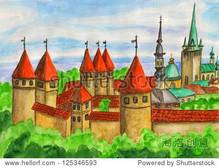 爱沙尼亚首都塔林,手画,水彩画.-建筑物/地标,艺术