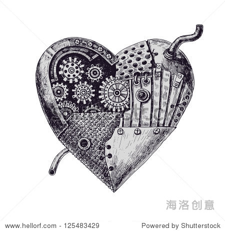 手绘插图的机械的心 - 假期,复古风格 - 站酷海洛创意