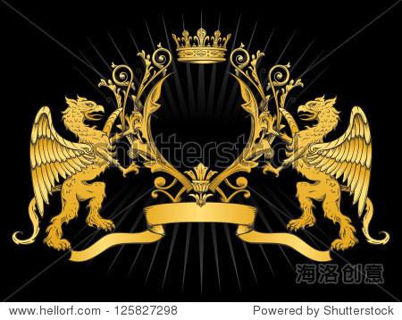 in纹章框架和皇冠在黑色背景 2颜色渐变与黑暗的轮廓 每个元素分高清图片