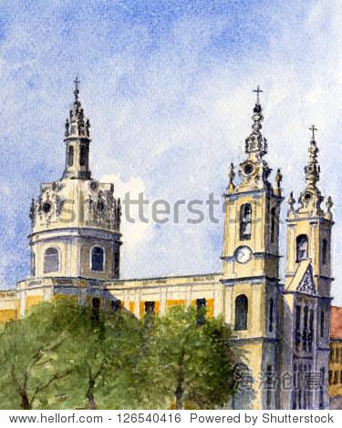 """""""教堂da estrela""""水彩画——里斯本,葡萄牙"""