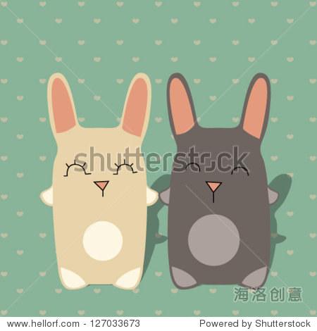 兔子的爱情-动物/野生生物,背景/素材-海洛创意正版