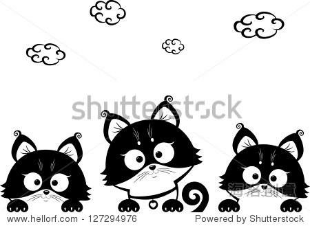 黑白插图轮廓可爱的小猫 - 动物/野生生物,背景/素材