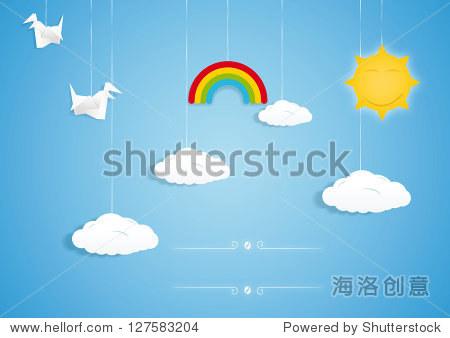 彩虹,云,鸟和太阳玩具.矢量图