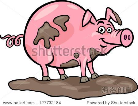 有趣的卡通插图在泥猪农场动物