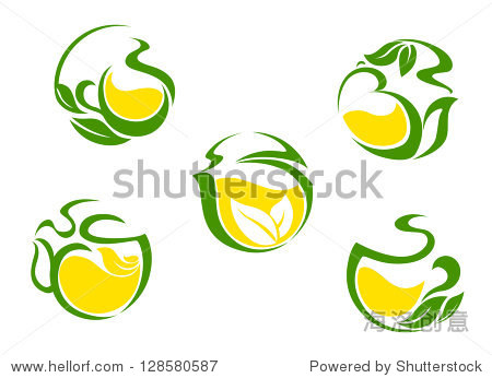 tea symbols with lemon and green leaves for beverages design or图片