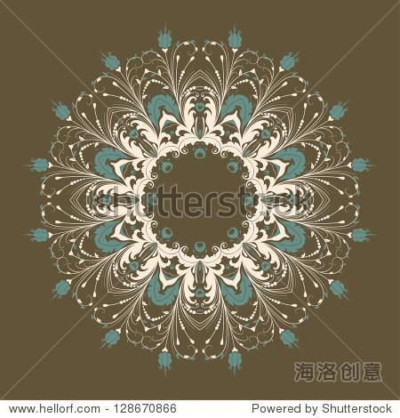 向量观赏一轮蕾丝花缎和阿拉伯式花纹元素.手绘风格