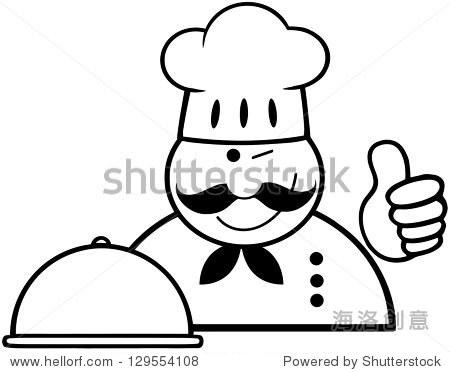 厨师简笔画可爱