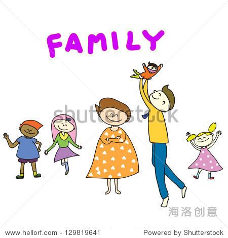 手绘卡通幸福的家庭插图