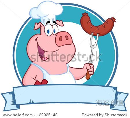 快乐猪厨师拿着香肠叉上一个空白旗帜.光栅插图.