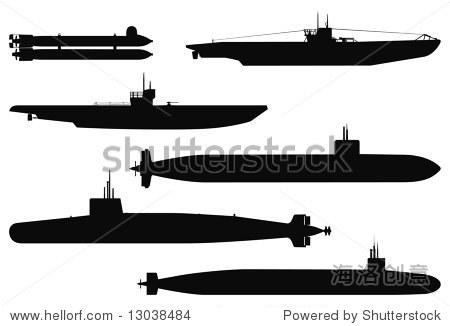 矢量剪影的军事潜艇.