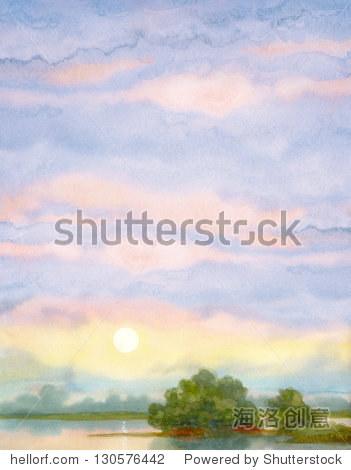 水彩风景的背景.夏天日出湖