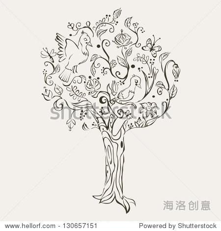 手绘 树 鸟 背景墙