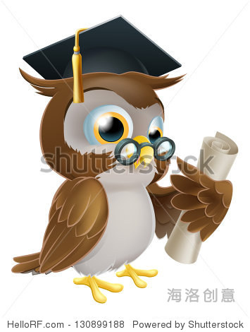��in9l$yi��d#9.�_of a cute owl in glasses and graduate or convocation hat holding