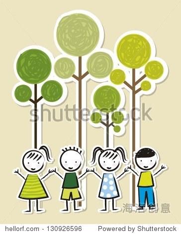 植树节在米色背景.矢量图
