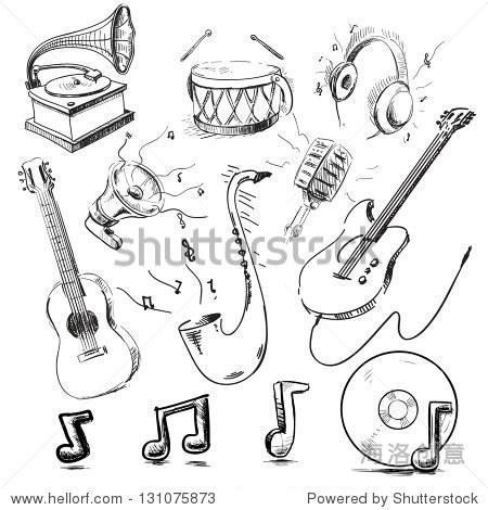 乐器和图标集合.手绘草图矢量插图