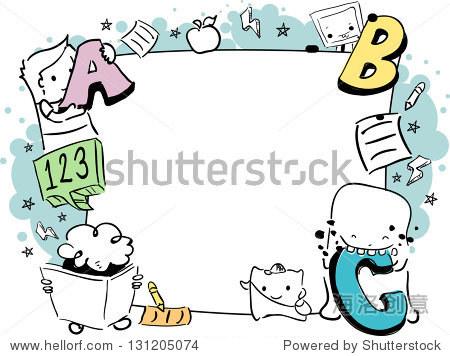 插图的教育框架可爱的小怪物