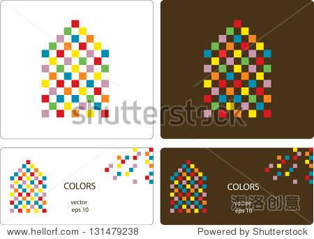 向量卡片设计做的小房子图标彩色的方块