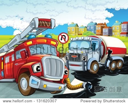 红色的救火车-义务为孩子们说明-背景/素材,艺术-海洛