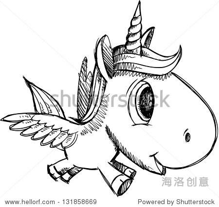 素描涂鸦独角兽飞马alicorn艺术 - 动物/野生生物