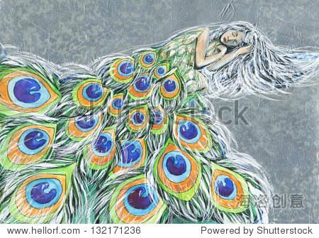 童话手绘艺术插图孔雀的女人