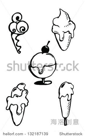 简笔画食物图黑白片可爱