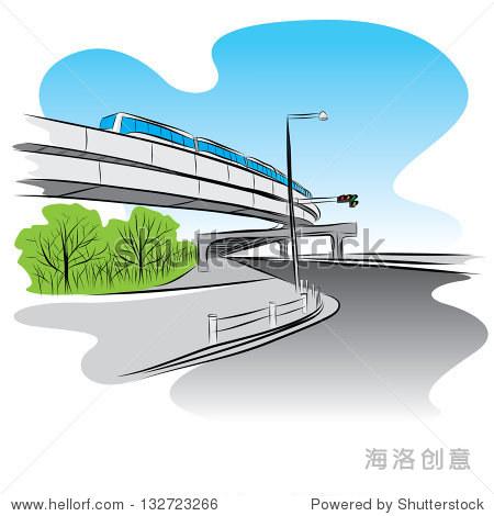 路立交桥的天空下火车桥手绘