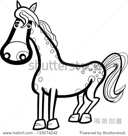 黑色和白色可爱的马农场动物的卡通插图着色的书