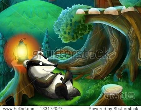 森林动物的绘画——儿童