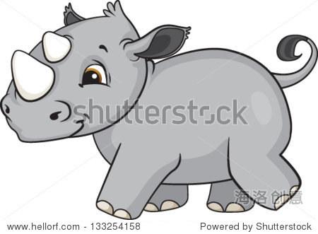 一个可爱的卡通小犀牛散步