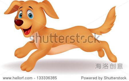 可爱的卡通狗跑步