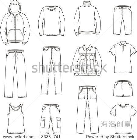 Vector illustration of women s casual clothes t shirt, singlet, smock, jumper, pants, jeans, shorts, sweater, jacket. Sport styl