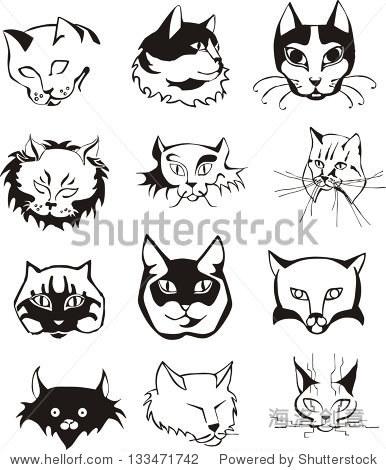 套大纲猫头.黑色和白色的矢量插图.