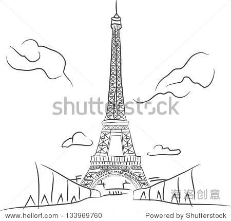 徒手草图集合:埃菲尔铁塔在巴黎