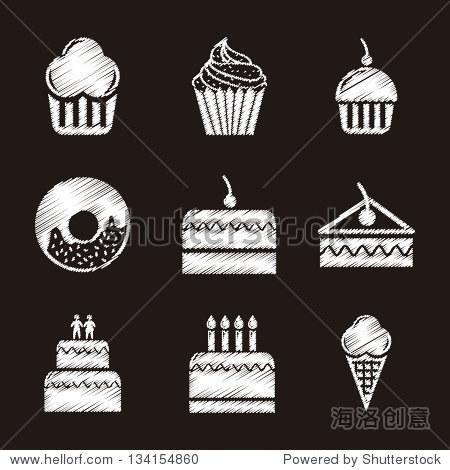 蛋糕在黑色背景图标.矢量图